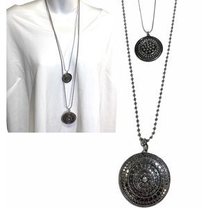 Chico's Silver Double Strand Medallion Necklace
